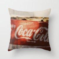 coca cola Throw Pillows featuring Enjoy Coca-Cola by Joseph Lee Photography