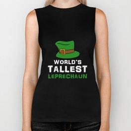 World's Tallest Leprechaun Green Top Hat St Patricks Biker Tank