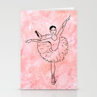 ballet Stationery Cards featuring Ballet  (Ballet dancer in arabesque wearing a tutu) by Janin Wise