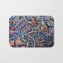 Lots of colorfull bycicles Bath Mat