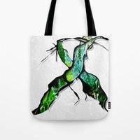 middle earth Tote Bags featuring Meet in the Middle by Lani Harmony