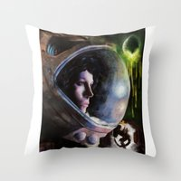 ripley Throw Pillows featuring alien ripley painting by John Mungiello