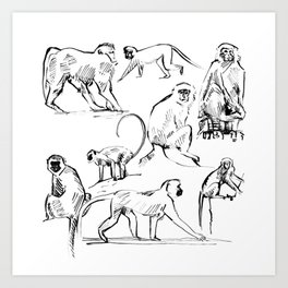 Monkey Green Art Print