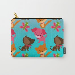 Kitty and Puppy Pattern Carry-All Pouch