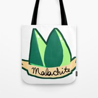malachite Tote Bags featuring Malachite by El Jones