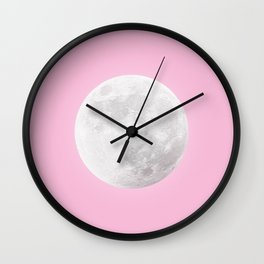 WHITE MOON + PINK SKY Wall Clock