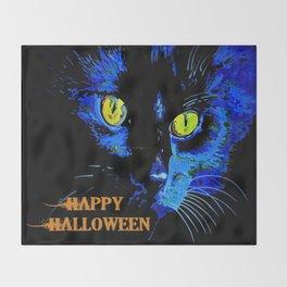 Black Cat Portrait with Happy Halloween Greeting  Throw Blanket