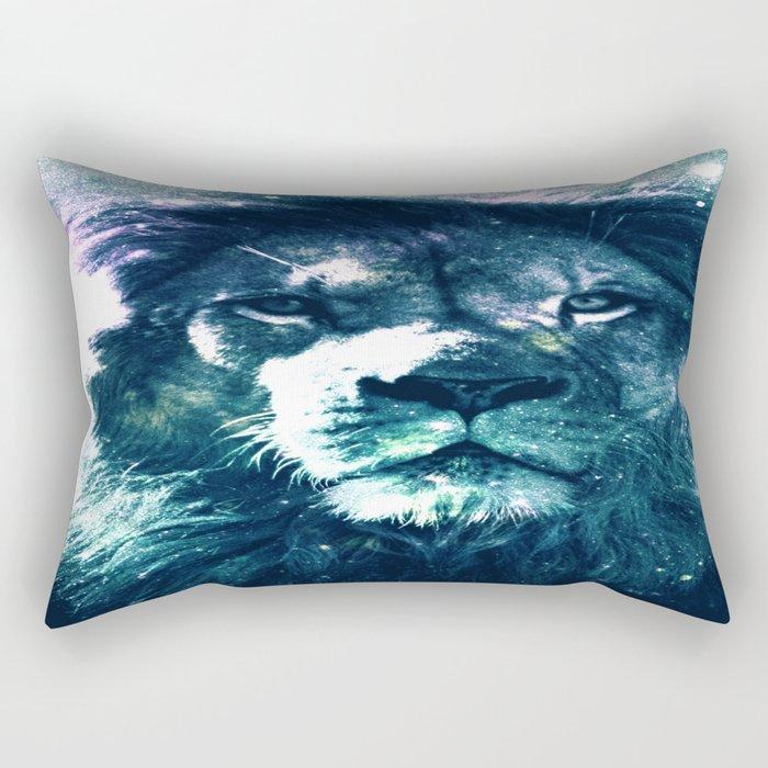 Lion Leo Teal Rectangular Pillow