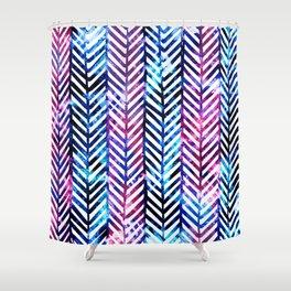 Purple and Blue Herringbone Shower Curtain