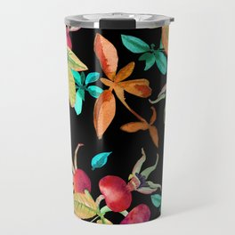 Bright autumn pattern with a dogrose and leaves berries watercolor Travel Mug