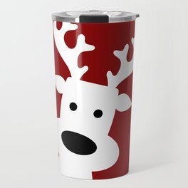 Reindeer on red background Travel Mug