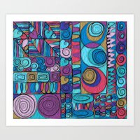 stained glass Art Prints featuring Stained Glass by Helene Michau