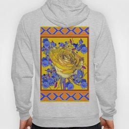CORAL & BLUE LATTICE & YELLOW ROSE BLUE MORNING GLORY FLOWERS Hoody