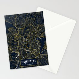 Kathmandu City Map of Nepal - Gold Art Deco Stationery Cards