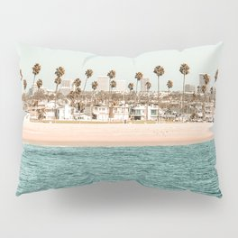 Vintage Newport Beach Print {1 of 4} | Photography Ocean Palm Trees Teal Tropical Summer Sky Pillow Sham