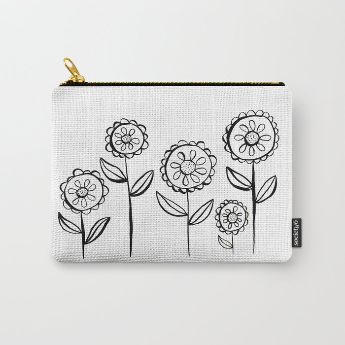 India Ink Black and White Garden of Flowers Print Carry-All Pouch
