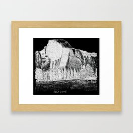 Hangin at Half Dome - White on Black Framed Art Print