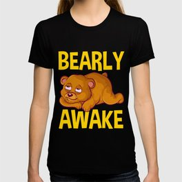 Bearly Awake Half Asleep Baby Bear Cub Pun T-shirt