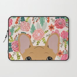 French Bulldog florals portrait dog breed custom pet portraits by pet friendly frenchie Laptop Sleeve