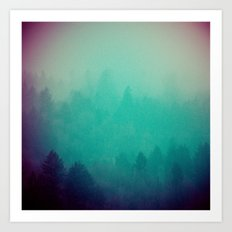 Foggy Forest - Vintage Green Fir Trees in California Art Print