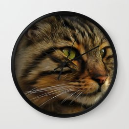 Aslan The Long Haired Tabby Cat Wall Clock