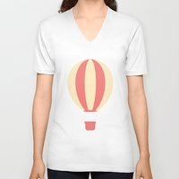 hot air balloon V-neck T-shirts featuring #84 Hot Air Balloon by MNML Thing