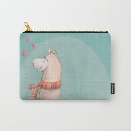 Happy Chubby Llama- Blue Carry-All Pouch