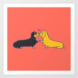 Dachshund Kisses Art Print