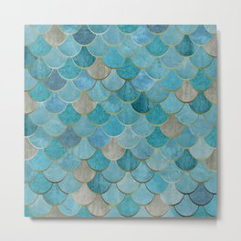 Moroccan Fish Scale Mermaid Pattern, Teal Blue and Gold Metal Print