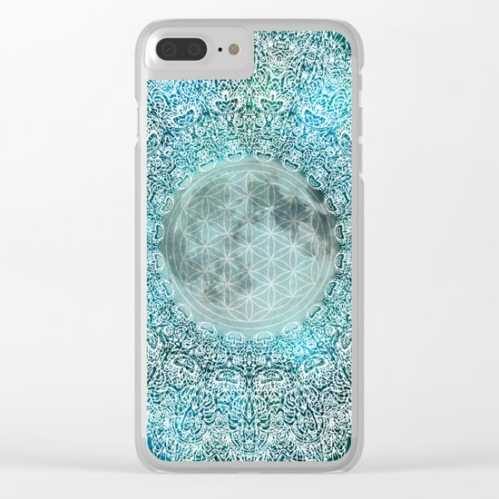 Lunar Magic Flower Of Life Blue & White Moon Mandala Clear iPhone Case