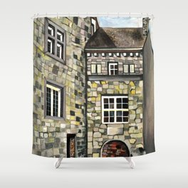 Fantastical Picturesque Hand-Painted Castle in Liege Belgium Shower Curtain