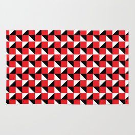 Red Black and White Geometric Pattern Rug