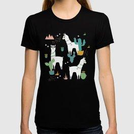 Summer Llamas on Pink T-shirt