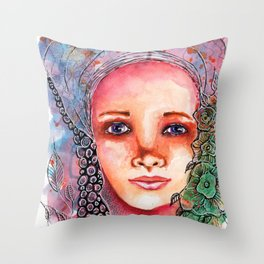 Flower Beauty   Whimsical face with flowers. Floral. Watercolor Throw Pillow