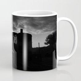 Sun Rays, Silo, and Train Car B&W Coffee Mug
