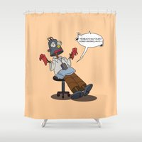 simpson Shower Curtains featuring Homero Simpson trabajo duro by POP42
