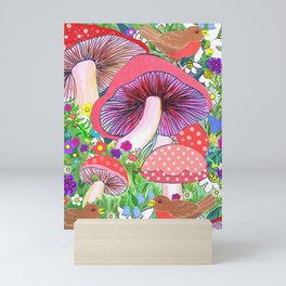 Swedish Toadstool Woodland Robins Floral Mini Art Print