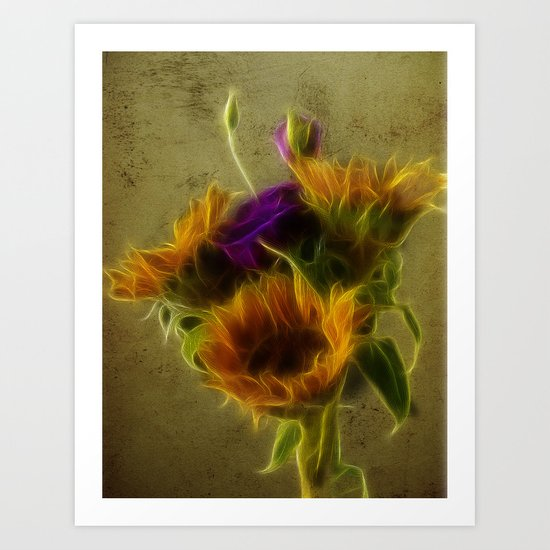Three sunflowers and a Lisianthus Art Print