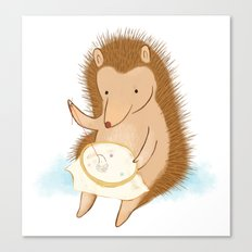 Hedgehog stitching a hedgehog Canvas Print