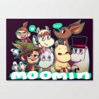 moomin Canvas Prints featuring Moomin by lemonteaflower