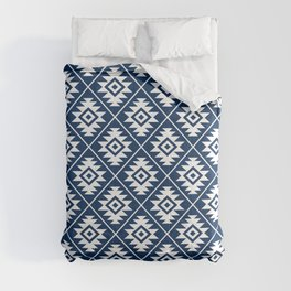 Aztec Symbol Ptn White on Dk Blue Comforters