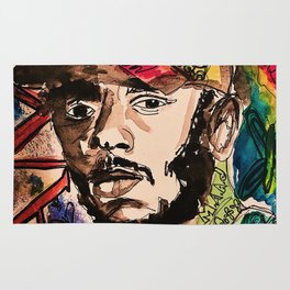 Damn,rapper,goat,poster,shirt,hiphop,wall art,decor,mascline,portrait,lyrics,rap Rug