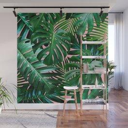Palm Tree Monstera Leaf Seamless Wall Mural