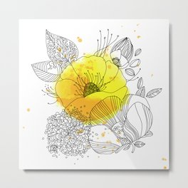 Yellow Floral Burst Metal Print