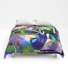 Try To Make Sense Of It All - Random, geometric, eclectic, abstract, colourful art Comforters