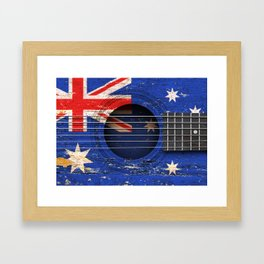 Old Vintage Acoustic Guitar with Australian Flag Framed Art Print
