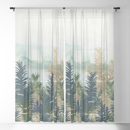 Watercolor winter green navy blue gold pine trees Sheer Curtain