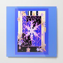 """Frozen"" Blue Snowflake Pattern Art Metal Print"