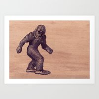 bigfoot Art Prints featuring Bigfoot by Cat & Mouse