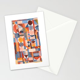 Stacked geometrics in peach and blue Stationery Cards